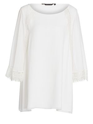 Elegante Foulard Lace Detail Silk Georgette Top