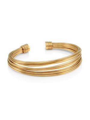 GAS BIJOUX   24K Goldplated Multi-Row Cuff Bracelet   Goxip