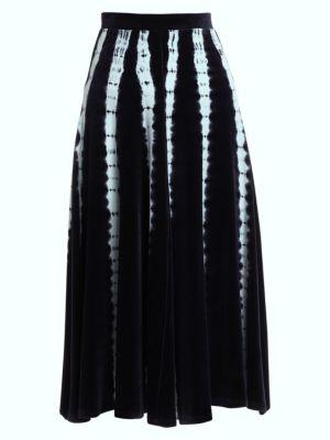 Tie-Dye Velvet Jersey Midi Skirt