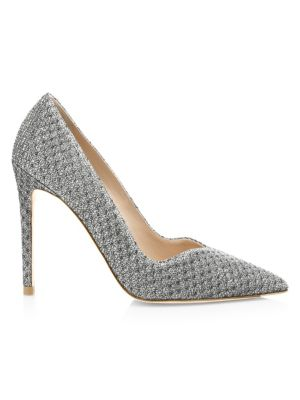 STUART WEITZMAN | Anny Metallic Point Toe Pumps | Goxip