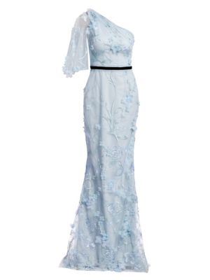 Embroidered Floral One-Shoulder Trumpet Gown