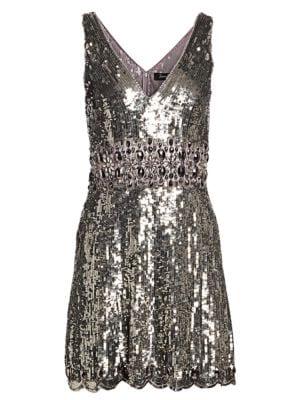 Sleeveless V-Neck Sequin Fit-&-Flare Dress