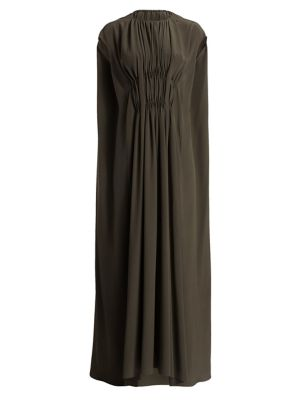 Antonia Gathered Cape Silk Gown