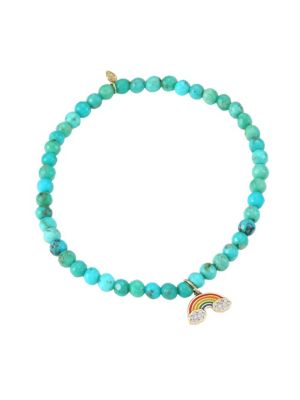 14K Yellow Gold, Matrix Turquoise & Diamond Rainbow Charm Bracelet