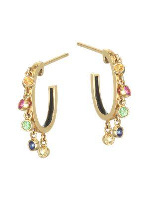 18K Gold Multi-Color Sapphire & Tsavorite Dangle Hoop Earrings