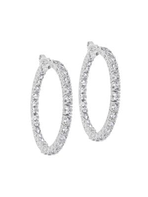 Luminal 18K White Gold & Diamond Inside-Out Hoop Earrings