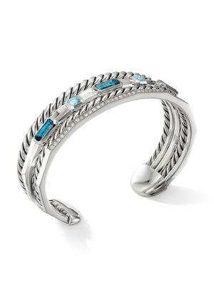 Stax Narrow Cuff Bracelet with Hampton Blue Topaz & Diamonds