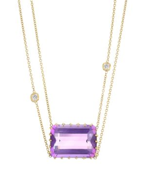 18K Yellow Gold, Diamond & Amethyst Two Tier Chain Necklace