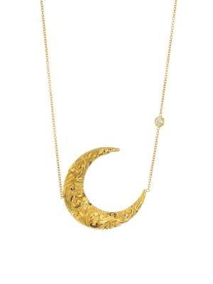 18K Yellow Gold & Diamond Antique Crescent Moon Necklace