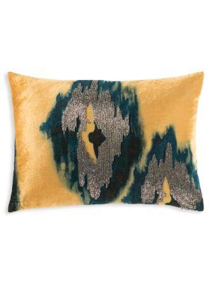 Jade Ikat Beaded Velvet Pillow