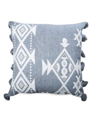 Iris Embroidered Linen Pillow