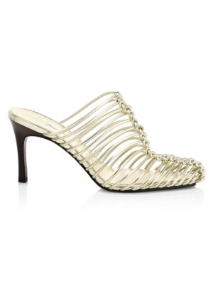 Sabrina Cage Metallic Leather Mules
