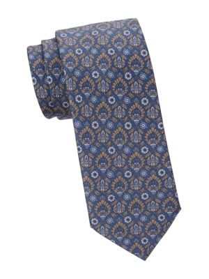 Medieval Floral Print Silk Tie