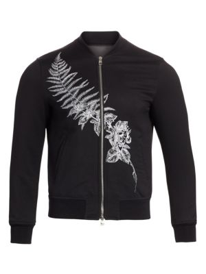 Fern Embroidered Wool Bomber Jacket