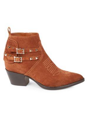 Valentino Garavani Rockstud Western Suede Ankle Boots