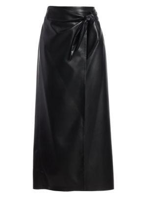 Amas Vegan Leather Side-Tie Midi Skirt