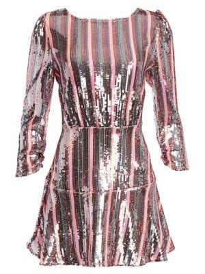 Kyla Sequin Stripe Mini Dress
