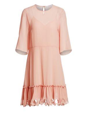 Georgette Three-Quarter Sleeve A-Line Dress