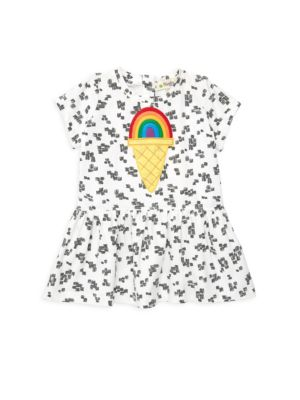 Baby Girl's Organic Cotton Rainbow Motif Dress