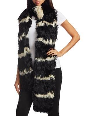 Two-Tone Alpaca Fur Scarf