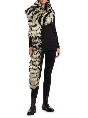 Striped Alpaca Fur Scarf