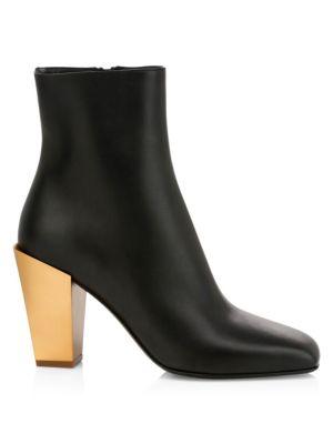Teti Metallic-Heel Leather Ankle Boots