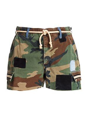 Camo Cut-Off Belted Shorts