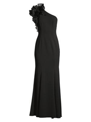 AIDAN MATTOX | Organza Ruffle One-Shoulder Gown | Goxip