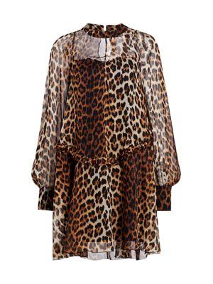 Ruched Leopard Print Silk Dress
