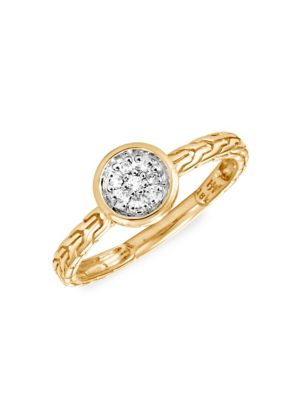 Dot 18K Yellow Gold & Diamond Pavé Round Ring