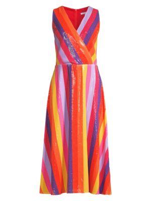 Thea Sequin Stripe Wrap Dress