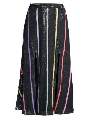 Astrid Double Slit Sequin Stripe Midi Skirt