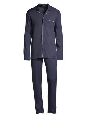 Basic Piped 2-Piece Long Pajama Set
