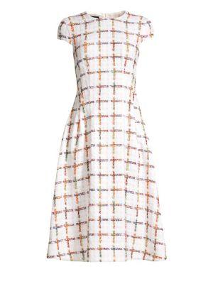 Dhima Cap Sleeve Rainbow Windowpane Check Dress