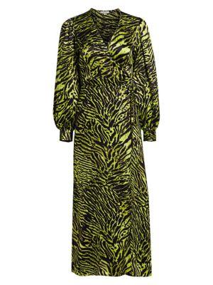 Stretch Silk Satin Tiger-Stripe Wrap Dress