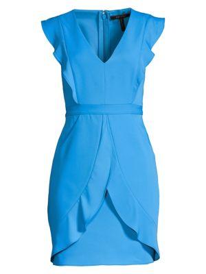 Ruffled Cap Sleeve Mini Sheath Dress