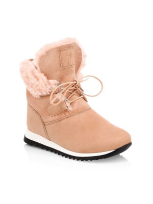 Girl's Suede Shearling-Lined Velour Sunrise Boots