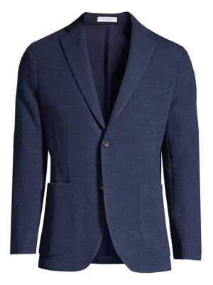 Regular-Fit Single-Breasted Wool & Silk Knit Jacket