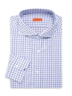 Slim-Fit Checker Dress Shirt
