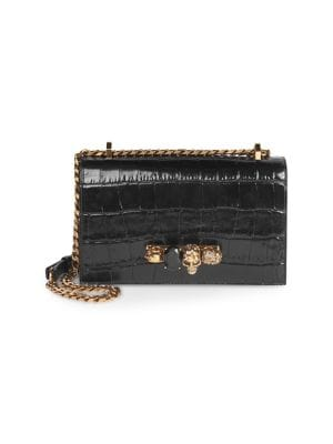 ALEXANDER MCQUEEN | Jewelled Croc-Embossed Leather Satchel | Goxip