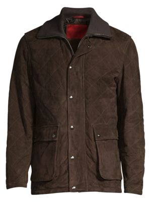 Diamond Quilted Utility Pocket Suede Jacket