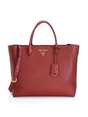PRADA | Vitello Daino Striped Strap Leather Tote Bag | Goxip