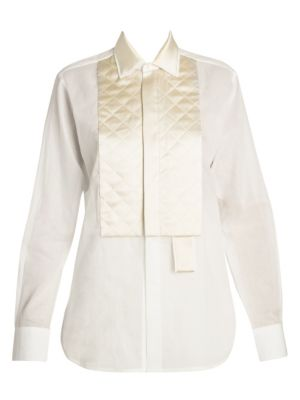 Diamond Quilted Tuxedo Blouse