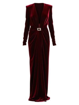 Velvet Jersey Long-Sleeve Deep V-Neck Column Gown