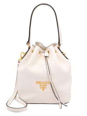 PRADA   Daino Leather Bucket Bag   Goxip