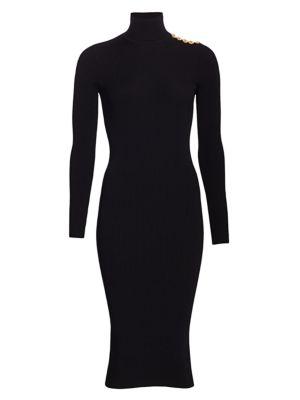 Rib Knit Turtleneck Midi Dress
