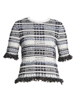 Knit Tweed Fringe Tee