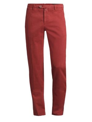 Stretch Straight Flat-Front Pants