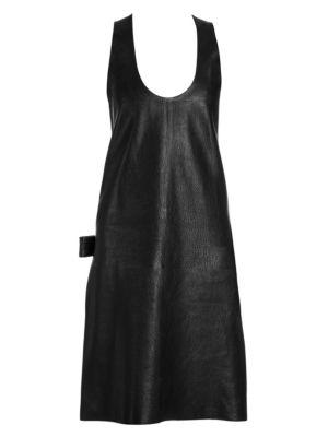 BOTTEGA VENETA   Grainy Leather Sleeveless Dress   Goxip