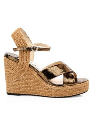 JIMMY CHOO | Dellena Leather Wedge Espadrille Sandals | Goxip